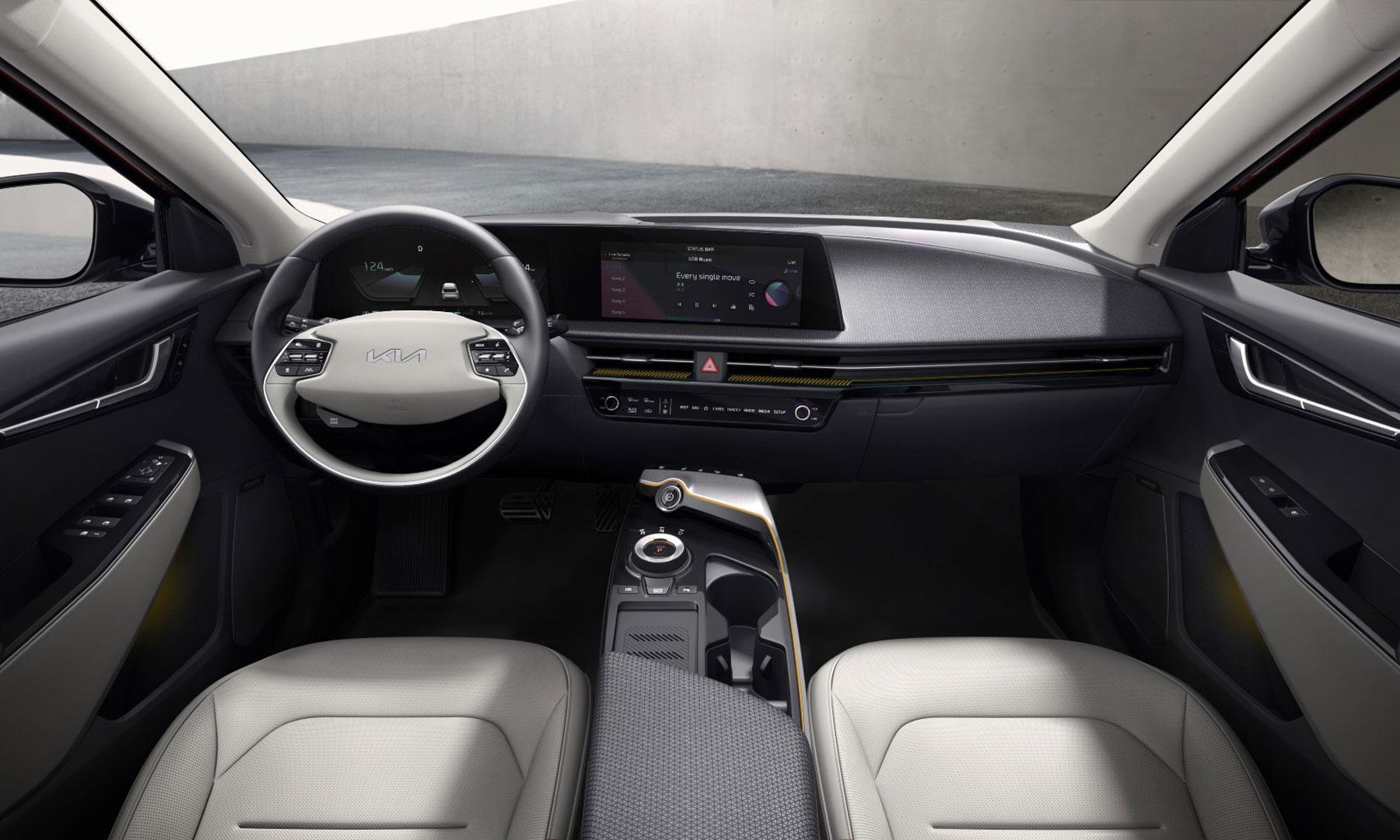das futuristisch, edle Cockpit des neuen KIA EV6, Elektroautos